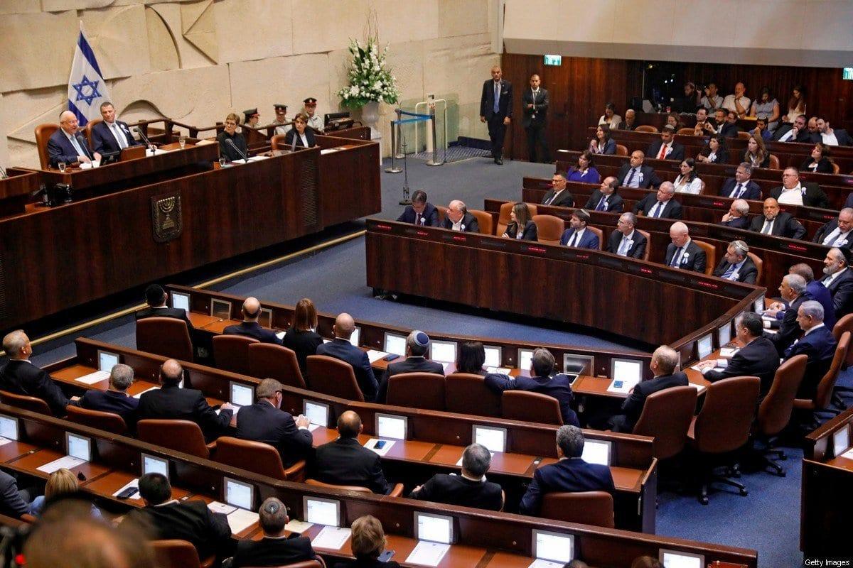 Reunião do Knesset, parlamento israelense, em 3 de outubro de 2019 [Menahem Kahana/AFP/Getty Images]