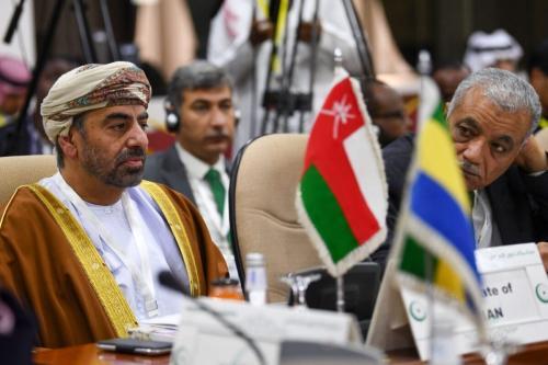 O embaixador de Omã na Arábia Saudita, Ahmad bin Hilal Albusaidi, participa de uma reunião da Organização de Cooperação Islâmica (OIC) em Jeddah em 3 de fevereiro de 2020, para falar sobre o plano do presidente dos EUA, Donald Trump, para o Oriente Médio [Amer Hilab/ AFP via Getty Images]