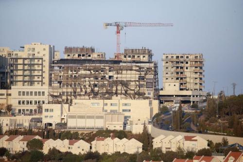 Novos edifícios no assentamento israelense de Efrat ao sul da cidade de Belém, no oeste ocupado Banco em 14 de outubro de 2020 [Hazem Bader/ AFP via Getty Images]