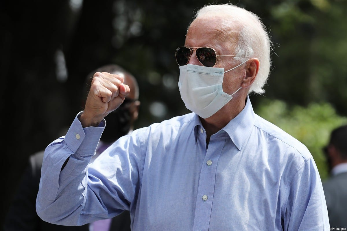 Joe Biden, candidato democrata à presidência dos Estados Unidos, em Lancaster, Pelsilvânia, 7 de setembro de 2020 [Chip Somodevilla/Getty Images]