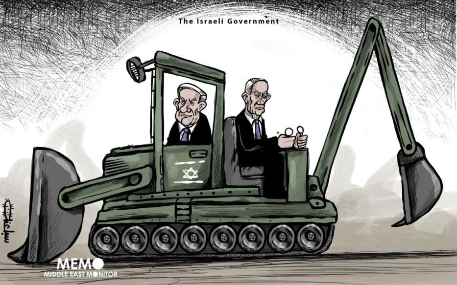 A coalizão Netanyahu-Gantz - Charge [Sabaaneh / Monitor do Oriente Médio]