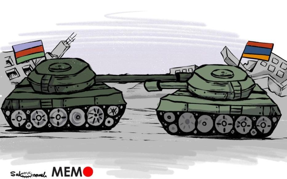 Armênia / Azerbaijão lutando contra a fúria - Charge [Sabaaneh / Monitor do Oriente]