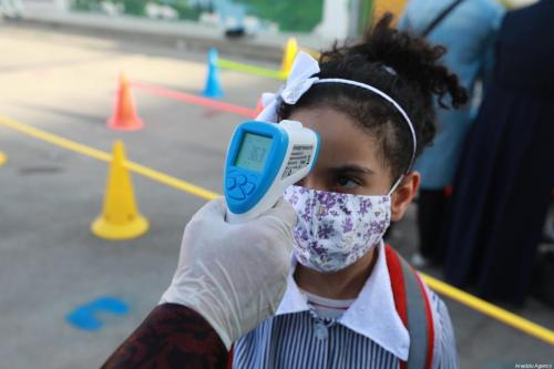 Professora checa a temperatura de uma estudante antes das aulas, durante a pandemia do coronavírus, em Ramallah, Cisjordânia ocupada, 6 de setembro de 2020 [Issam Rimawi/Agência Anadolu]