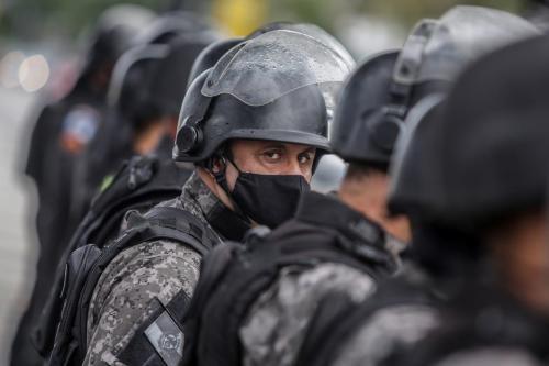 Forças de segurança no Rio de Janeiro, Brasil, 7 de junho de 2020 [André Coelho/Getty Images]