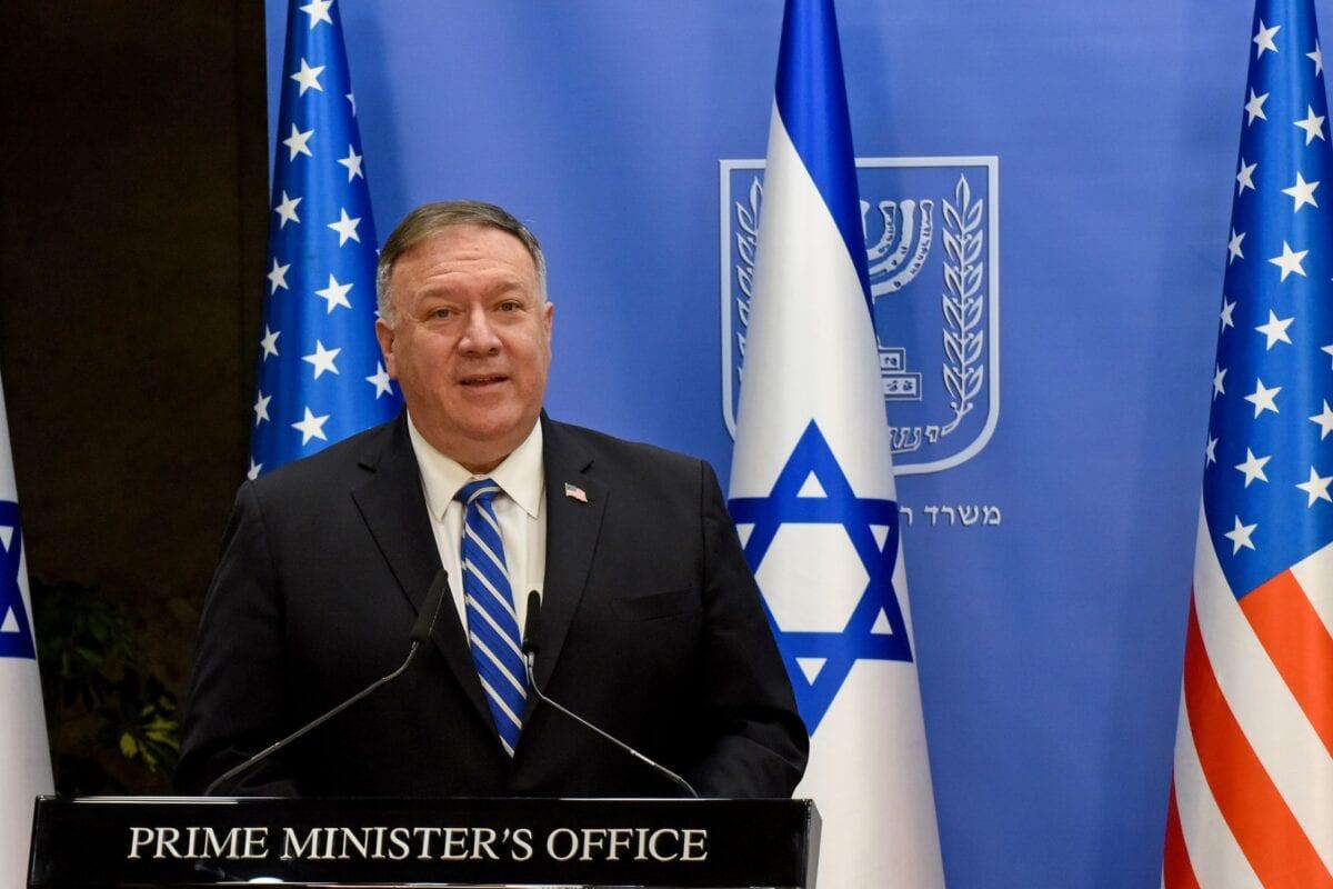 Secretário de Estado Mike Pompeo em Jerusalém, em 24 de agosto de 2020 [Debbie Hill/ AFP / Getty Images]