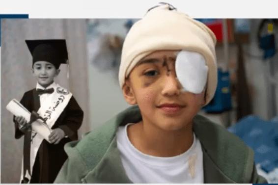 Menino palestino de 9 anos, Malik Eissa, que foi baleado no olho pelas forças de ocupação israelenses [Saudis2018/ Twitter]