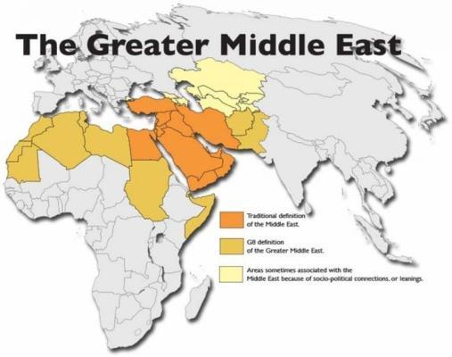 Grande Oriente Médio: Em laranja escuro, a definição tradicional de Oriente Médio. Em laranja amarelado, a definição de Grande Oriente Médio dada pelo G8. Em amarelo claro, região às vezes considerada parte do Oriente Médio devido a conexões ou aproximações socio-políticas.