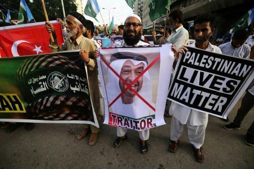 Protesto contra o acordo de normalização assinado entre os Emirados Árabes Unidos e Israel, 16 de agosto de 2020 [mustpakistan / Twitter]
