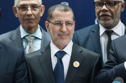 Chefe do Partido do Conselho Nacional de Justiça e Desenvolvimento (JDP), Saadeddine Othmani em Rabat, Marrocos em 21 de março de 2017 [Jalal Morchidi/Anadolu Agency]