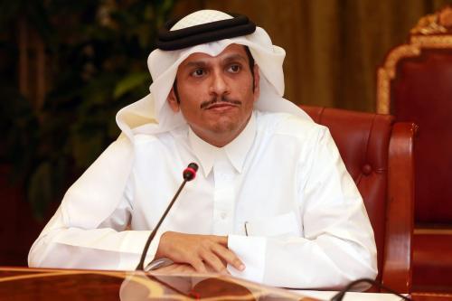 O Ministro das Relações Exteriores do Catar, Sheik Mohammed bin Abdulrahman Al-Thani, fala durante entrevista coletiva em Doha, no Catar, no dia 19 de junho de 2017 [Agência Mohamed Farag / Anadolu]