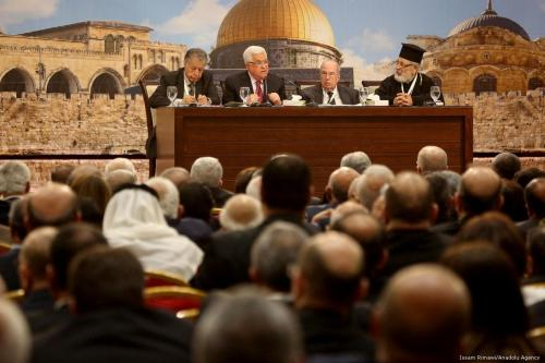 Presidente da Autoridade Palestina Mahmoud Abbas discursa durante a 23ª sessão do Conselho Nacional Palestino, em Ramallah, Cisjordânia ocupada, 30 de abril de 2018 [Issam Rimawi/Agência Anadolu]