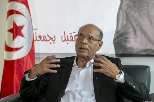 O ex-presidente Moncef Marzouki fala durante uma entrevista exclusiva em Tunis, Tunísia, em 01 de setembro de 2019 [Agência Yassine Gaidi/Anadolu].