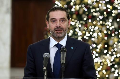 Saad Hariri, designado premiê do Líbano, durante coletiva de imprensa após apresentar uma lista com dezoito membros de seu gabinete ao presidente Michel Aoun, no palácio Baabda, em Beirute, 9 de dezembro de 2020 [Presidência do Líbano/Agência Anadolu]