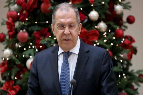 O Ministro das Relações Exteriores da Rússia, Sergey Lavrov, na Croácia em 16 de dezembro de 2020. [Stipe Majic / Agência Anadolu]