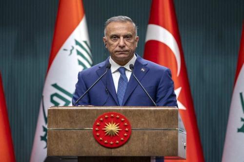 Primeiro-Ministro do Iraque Mustafa al-Kadhimi, em Ancara, Turquia, 17 de dezembro de 2020 [Ali Balikçi/Agência Anadolu]