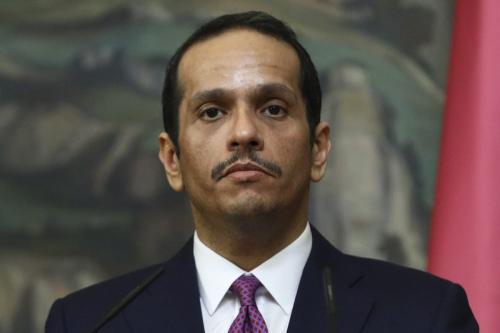 Ministro de Relações Exteriores do Catar Mohammed bin Abdulrahman bin Jassim al-Thani encontra-se com sua contraparte russa em Moscou, Rússia, 23 de dezembro de 2020 [Ministério de Relações Exteriores da Rússia/Agência Anadolu]