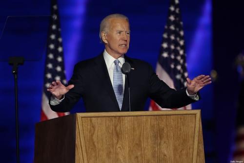 Presidente dos Estados Unidos Joe Biden em Wilmington, Delaware, 7 de novembro de 2020 [Tasos Katopodis/Getty Images]