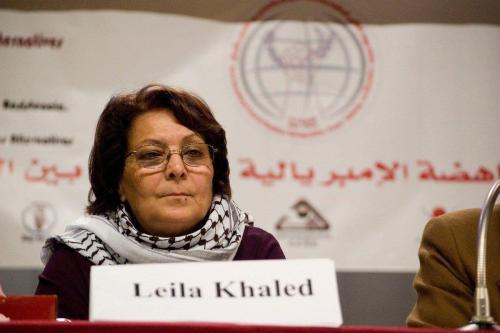 Leila Khaled, ícone da resistência palestina, em Viena, Áustria, 18 de janeiro de 2009 [FunkMonk/Wikipedia]