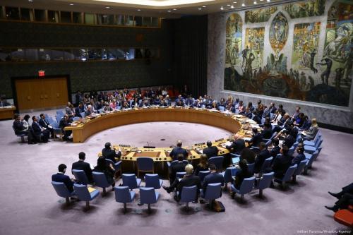 Os participantes são vistos durante uma reunião do Conselho de Segurança das Nações Unidas na Sede da ONU, em Nova Iorque, EUA. [Volkan Furuncu/Anadolu Agency]