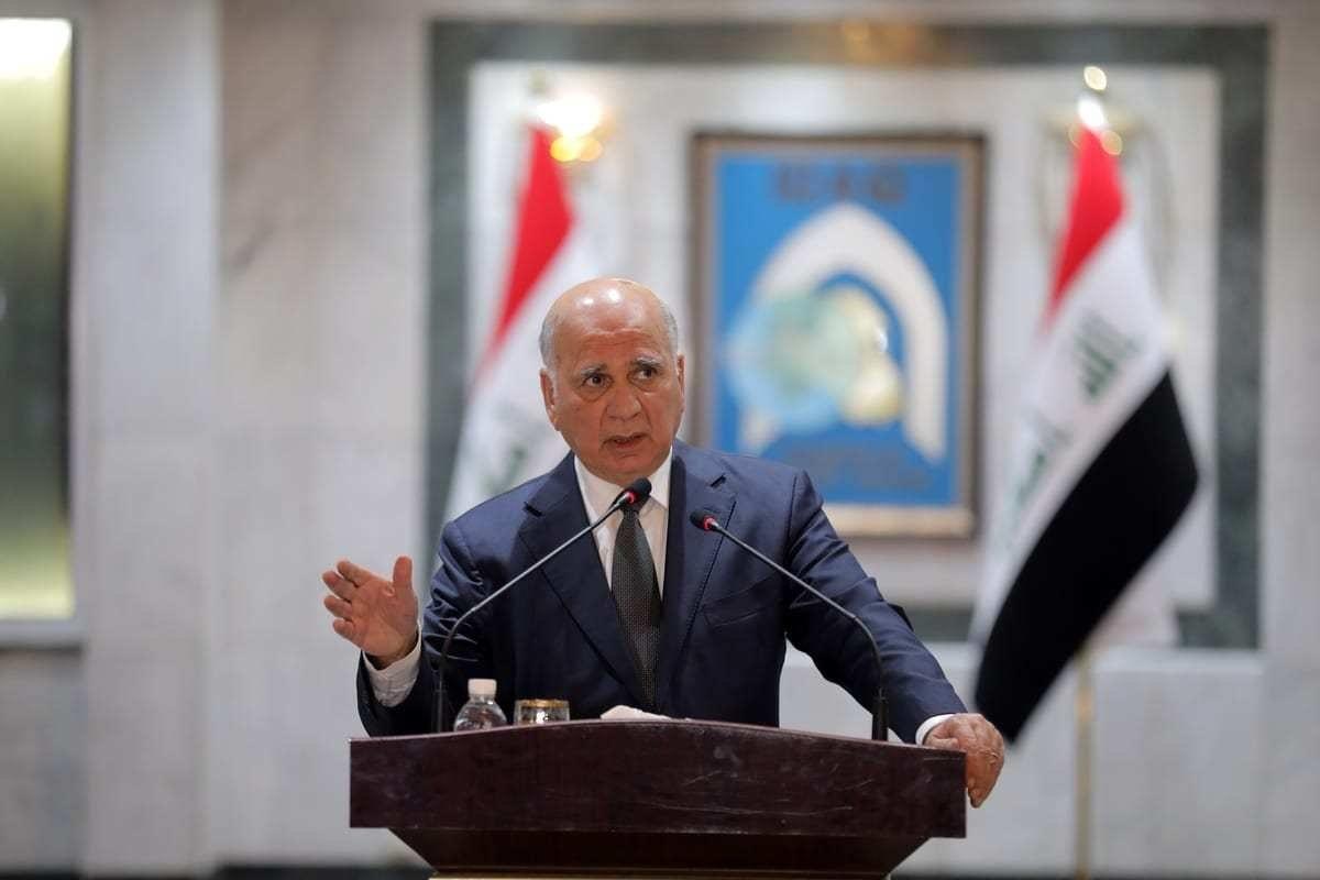 Ministro de Relações Exteriores do Iraque Fuad Hussein em coletiva de imprensa em Bagdá, 18 de novembro de 2020 [Murtadha Al-Sudani/Agência Anadolu]