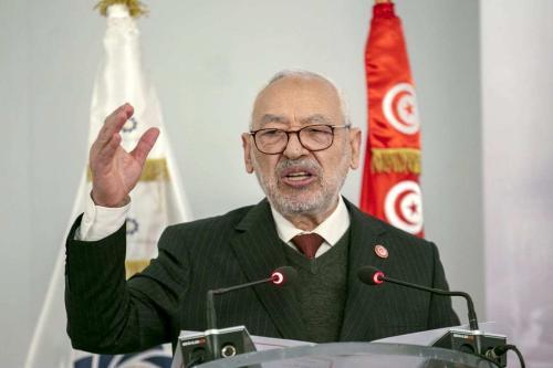 Rached Ghannouchi, presidente do parlamento tunisiano e líder do Movimento Ennahda, durante painel em Túnis, Tunísia, 12 de janeiro de 2021 [Yassine Gaidi/Agência Anadolu]
