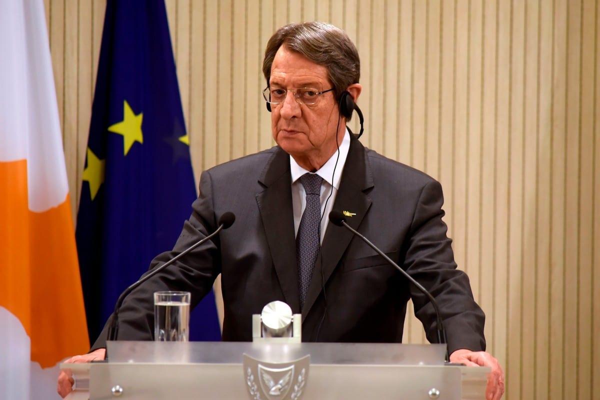 O presidente cipriota, Nicos Anastasiades, na capital do Chipre, Nicósia, em 21 de outubro de 2020 [Iakovos Hatzistavrou/ AFP/ Getty Images]