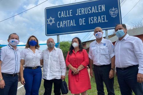 Inauguração da Praça com a presença do embaixador israelense Mattanya Cohen [ Foto Twitter]