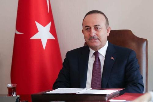 O ministro das Relações Exteriores da Turquia, Mevlut Cavusoglu, em Ancara, Turquia, em 27 de janeiro de 2021. [Cem Özdel/Agência Anadolu]