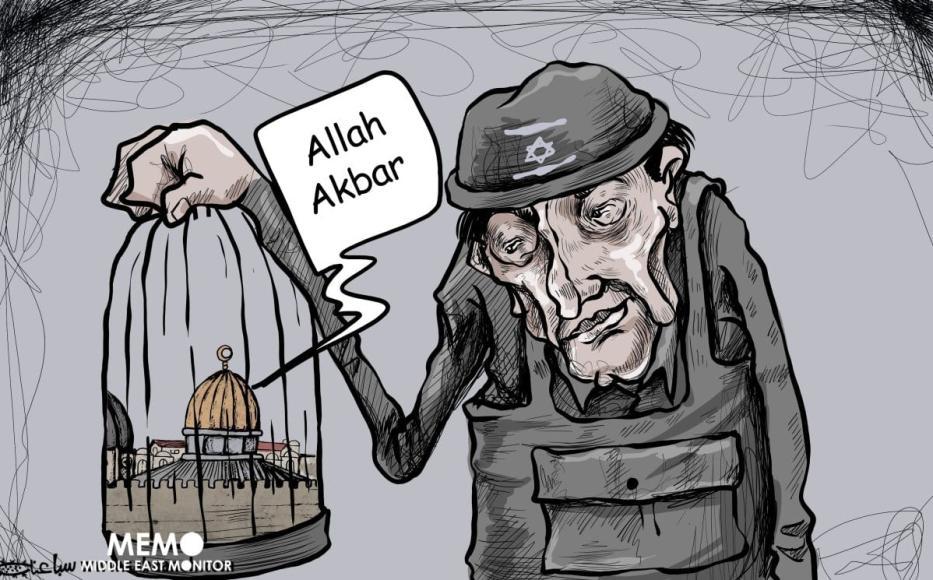 As agressões de Israel contra Al-Aqsa. [Mohammad Sabaaneh/Monitor do Oriente Médio]