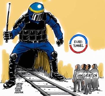 Migrantes no EuroTunnel. [Carlos Latuff/Monitor do Oriente Médio