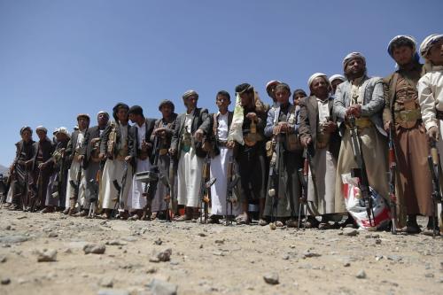 Apoiadores de Houthis em Sanna em 21 de setembro de 2019 [Agência Mohammed Hamoud / Anadolu]