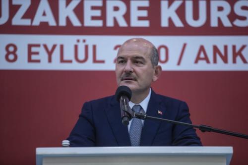 O ministro do Interior da Turquia, Suleyman Soylu, em Ancara, Turquia, em 14 de setembro de 2020. [Esra Hacioğlu/Agência Anadolu]