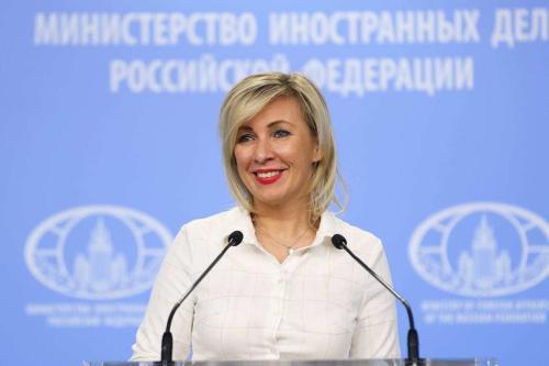 Porta-voz do Ministério das Relações Exteriores da Rússia (MRE), Maria Zakharova, em coletiva de imprensa semanal no Ministério, em Moscou, Rússia, em 3 de dezembro de 2020. [MRE/ Agência Anadolu]