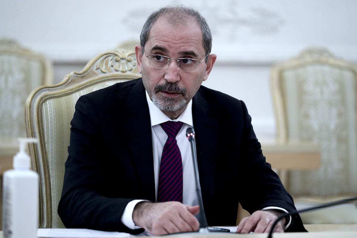 Ministro das Relações Exteriores da Jordânia, Ayman Al-Safadi, em Moscou, Rússia, em 3 de fevereiro de 2021 [MRE Rússia / Agência Anadolu]