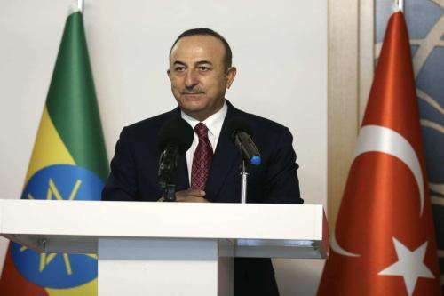O Ministro das Relações Exteriores da Turquia, Mevlut Cavusoglu, em Ancara, Turquia, em 15 de fevereiro de 2021/ [Fatih Aktaş/Anadolu Agency]