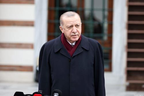 O presidente turco, Recep Tayyip Erdogan, em Istambul, Turquia, em 19 de março de 2021. [Emrah Yorulmaz/Agência Anadolu]