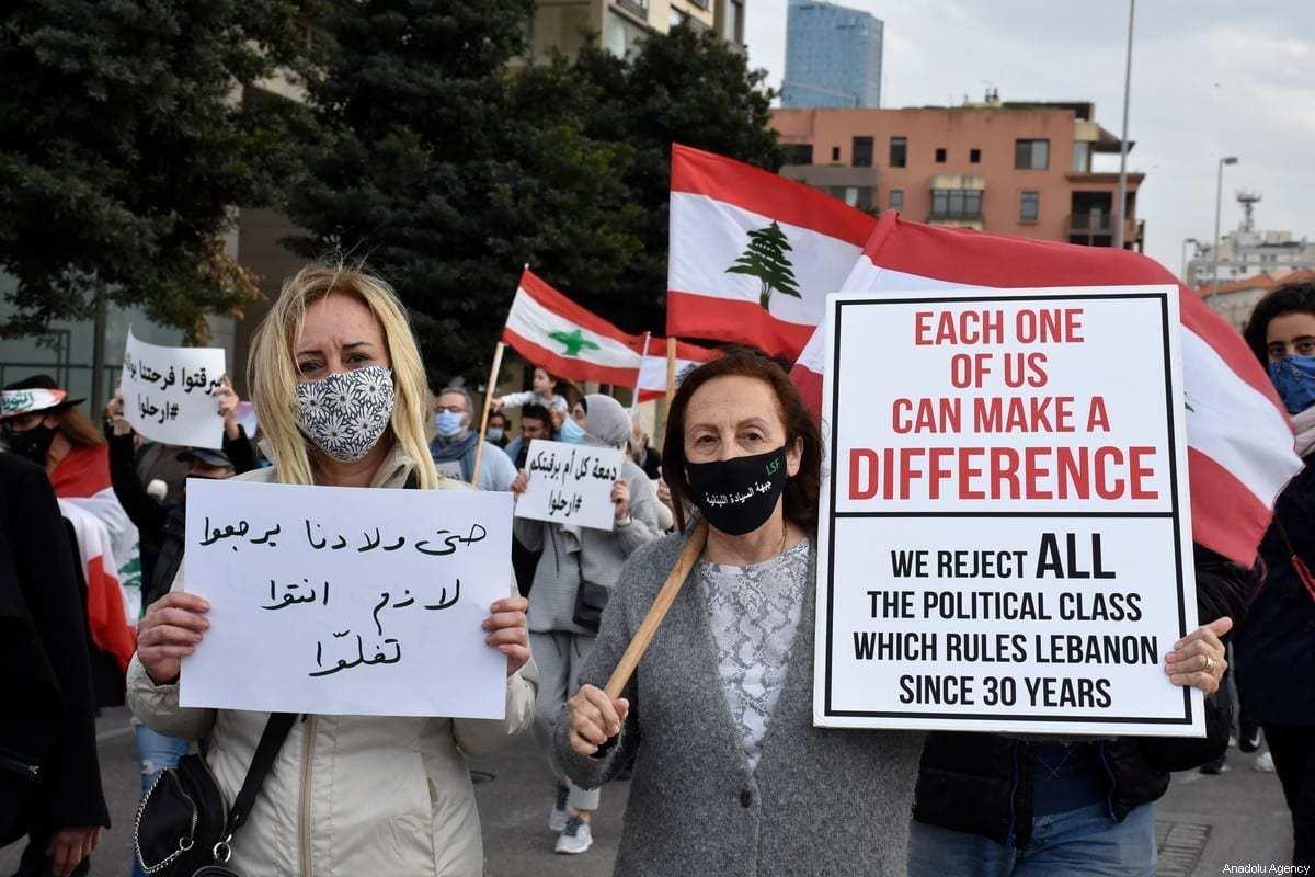 Protesto contra as condições de vida em Beirute, Líbano, 20 de março de 2021 [Mahmut Geldi/Agência Anadolu]