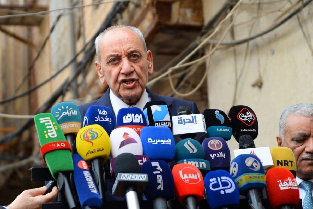 O presidente do Parlamento libanês Nabih Berri, em 1 de abril de 2019. [Haidar Hamdani/AFP via Getty Images]