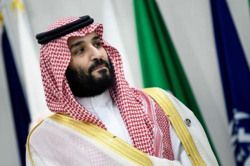 O príncipe herdeiro da Arábia Saudita, Mohammed bin Salman, participa de uma reunião durante a Cúpula do G20 em Osaka em 28 de junho, 2019 [Brendan Smialowski/ AFP via Getty Images]