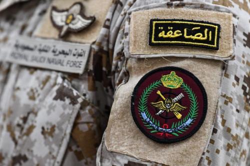 Detalhe do uniforme de um oficial saudita durante Exercício Marítimo Internacional (IMX) nas águas do Golfo, litoral do Bahrein, em 5 de novembro de 2019 [Karim Sahib/AFP via Getty Images]