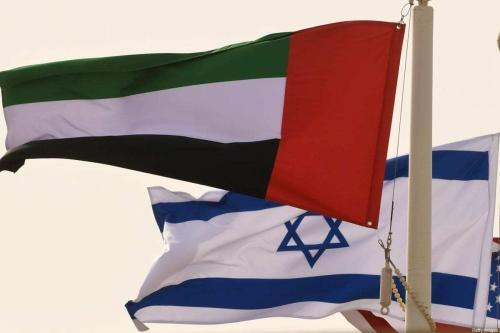 Bandeiras de Israel e Emirados Árabes Unidos em 31 de agosto de 2020 [Karim Sahib/AFP/Getty Images]
