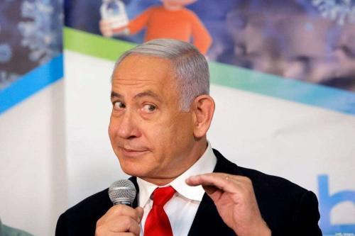 O primeiro-ministro israelense, Benjamin Netanyahu, em Abu Ghosh, perto de Jerusalém, em 9 de março de 2021. [GIL COHEN-MAGEN / AFP via Getty Images]