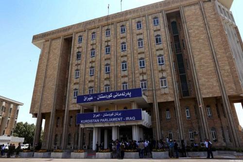 Parlamento autônomo do Curdistão iraquiano em Arbil, capital do Curdistão, no norte do Iraque, em 3 de julho de 2014. [Safin Hamed/AFP/Getty Images]