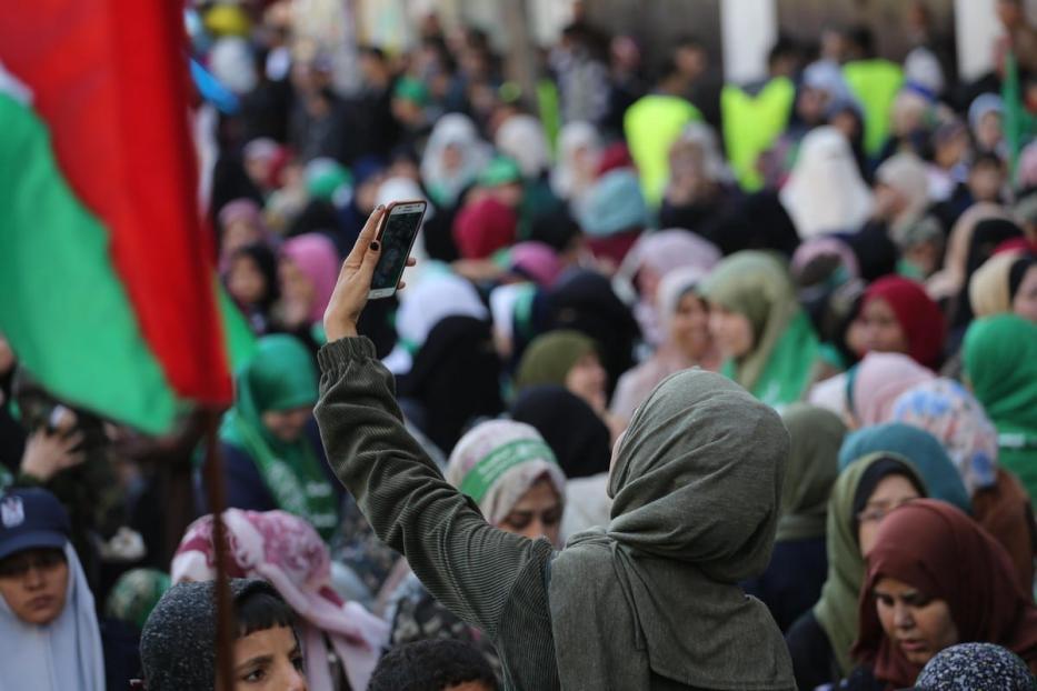 Palestinos se reúnem para comemorar o 32º aniversário do Hamas em Gaza, em 16 de dezembro de 2019. [Mohammed Asad/Monitor do Oriente Médio]