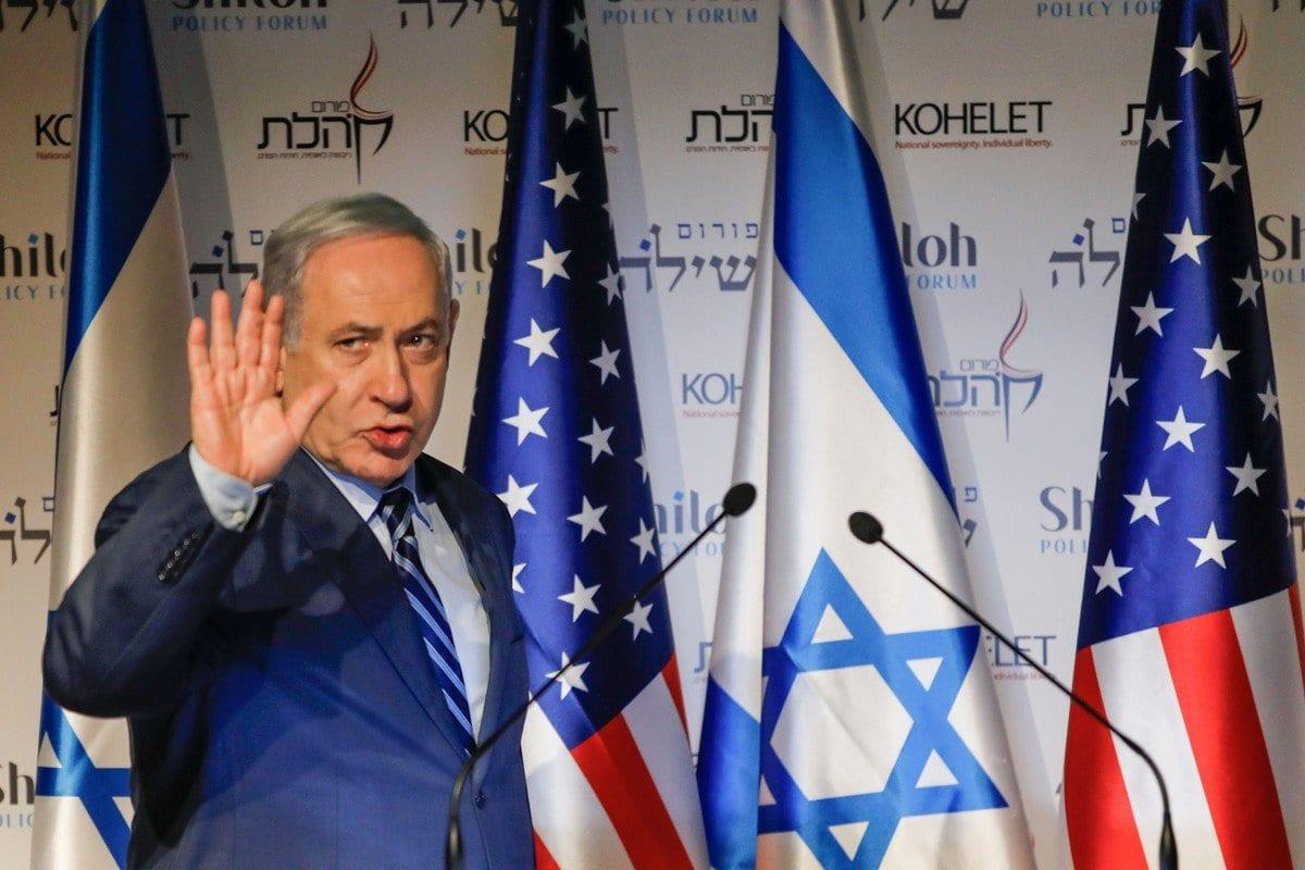 O primeiro-ministro israelense Benjamin Netanyahu na conferência Kohelet Policy Forum em Jerusalém em 8 de janeiro de 2020 [Menahem Kahana/ AFP/ Getty Imagens]