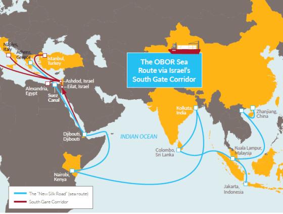 Via marítima da Iniciativa do Cinturão e Rota da China em Israel (Fonte: Relatório de Negócios Internacional)