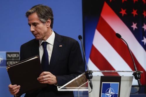 Secretário de Estado dos EUA, Antony Blinken, em 24 de março de 2021. [Olivier Hoslet/Pool/Agência Anadolu]