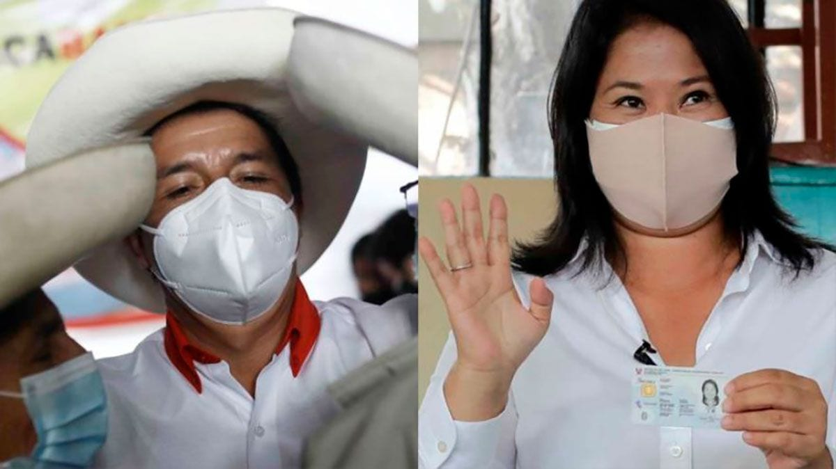 peruanos ao segundo turno, Pedro Castillo e Keiko Fujimori [Fotos de campanha]