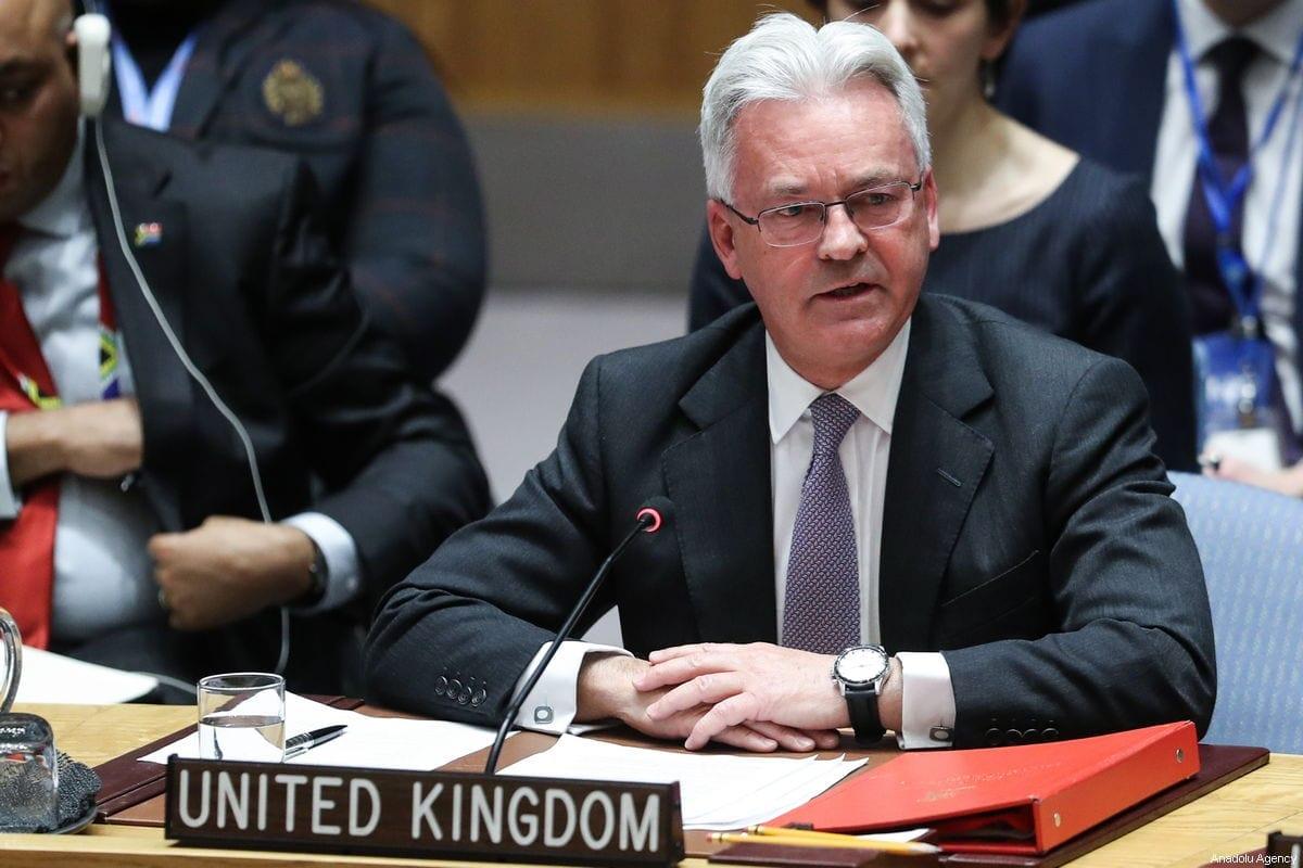 O ex-ministro de Estado britânico para a Europa e as Américas, Sir Alan Duncan, faz discurso durante a reunião do Conselho de Segurança sobre a situação na Venezuela, na sede das Nações Unidas em Nova York, Estados Unidos, em 26 de janeiro de 2019 [Atılgan Özdil /Agência Anadolu]