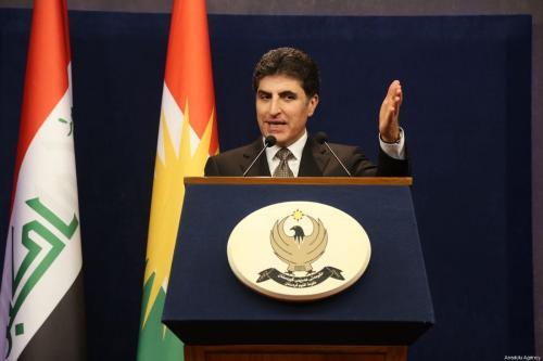 O primeiro-ministro do governo regional curdo iraquiano, Nechirvan Barzani, dá uma entrevista coletiva em Erbil, Iraque, em 27 de janeiro de 2019. [Hemn Baban/Agência Anadolu]